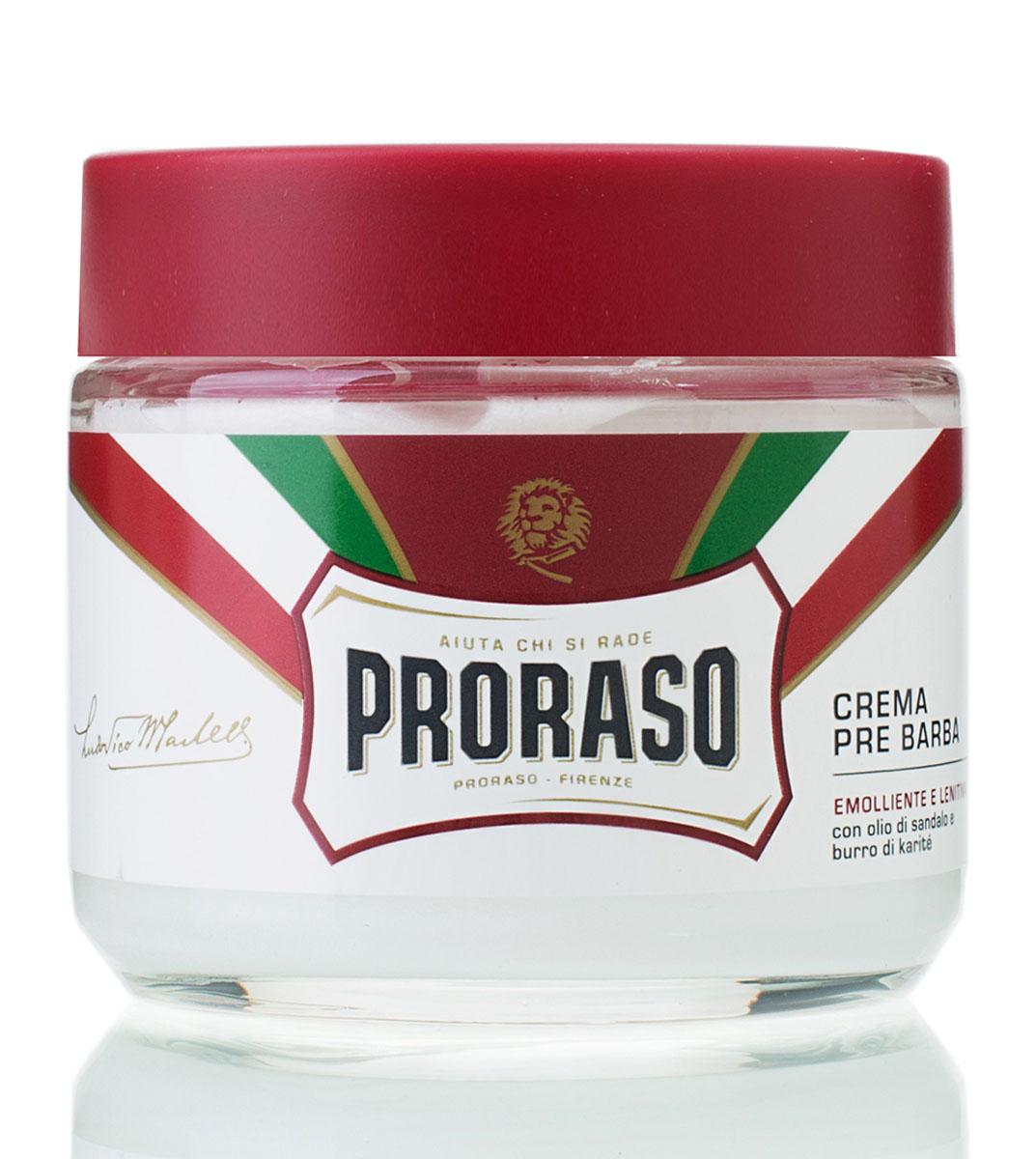Proraso Крем до бритья питательный 100 мл400402Крем Prorasoдля подготовки кожи к бритью (pre-shave) имеет плотную, концентрированную текстуру, которая делает кожу эластичной, а бритье легким и безопасным. Крем содержит охлаждающие кожу компоненты, которые создают свежее бодрящее ощущение.