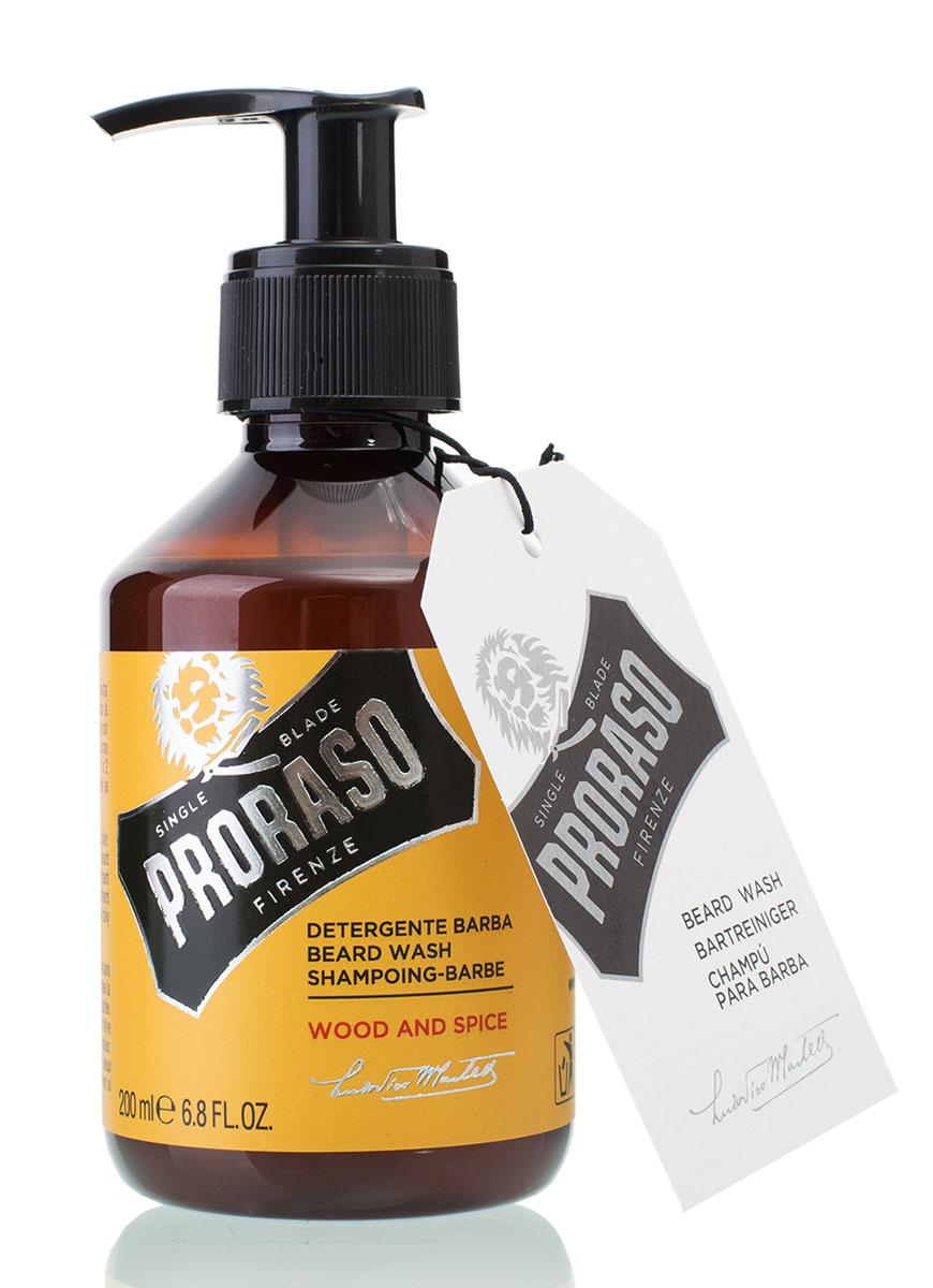Proraso Шампунь для бороды Wood and Spice 200 мл400750Шампунь для бороды Proraso Wood&Spice Beard Wash очищает волосы и кожу. Специальная формула позволяет сделать бороду мягкой и гладкой. Вы легко избавитесь от грязи и неприятных запахов.