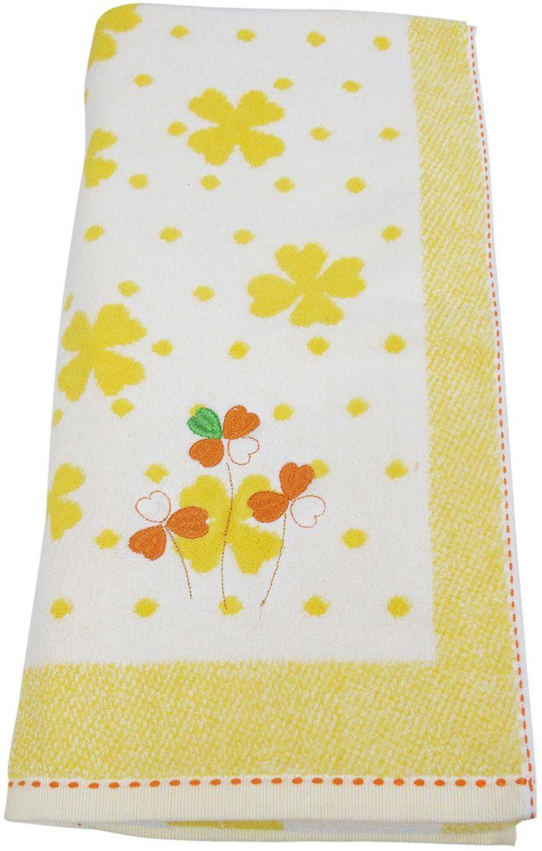 Полотенце махровое НВ Клевер, цвет: желтый, 70 х 140 см. м0240_643248Полотенце НВ  Клевер выполнено из натуральной махровой ткани (100% хлопок) и дополнено цветочным принтом. Изделие отлично впитывает влагу, быстро сохнет, сохраняет яркость цвета и не теряет форму даже после многократных стирок. Полотенце очень практично и неприхотливо в уходе. Оно станет достойным выбором для вас и приятным подарком вашим близким.