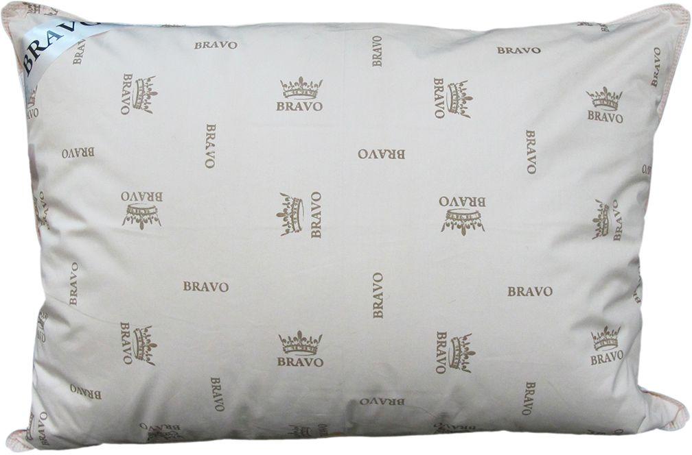 Подушка Bravo Элит, наполнитель: пух гусиный, цвет: белый, 50 х 70 см bravo полотенце детское пони 33 x 70 см 1089