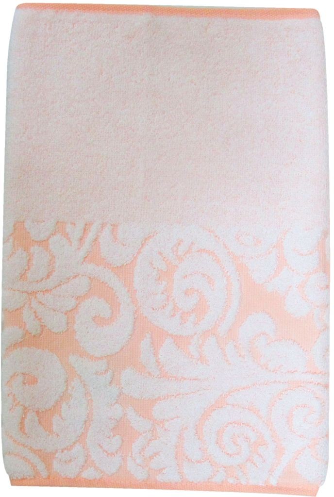 Полотенце махровое Bravo Версаль, цвет: персиковый, белый, 33 х 70 см55742Полотенце Версаль выполнено из натуральной махровой ткани (100% хлопок). Изделие отлично впитывает влагу, быстро сохнет, сохраняет яркость цвета и не теряет форму даже после многократных стирок.Полотенце очень практично и неприхотливо в уходе. Оно создаст прекрасное настроение и украсит интерьер в ванной комнате.