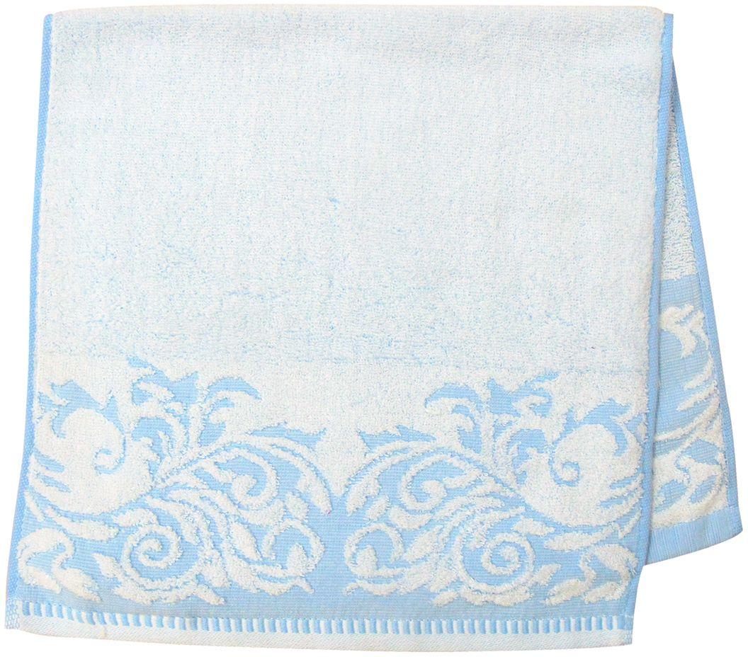 Полотенце махровое Bravo Венеция, цвет: синий, белый, 33 х 70 см66512Полотенце Венеция выполнено из натуральной махровой ткани (100% хлопок). Изделие отлично впитывает влагу, быстро сохнет, сохраняет яркость цвета и не теряет форму даже после многократных стирок. Полотенце очень практично и неприхотливо в уходе. Оно создаст прекрасное настроение и украсит интерьер в ванной комнате.