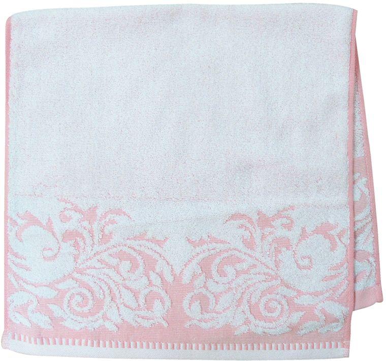Полотенце махровое Bravo Венеция, цвет: розовый, белый, 33 х 70 см66514Полотенце Венеция выполнено из натуральной махровой ткани (100% хлопок). Изделие отлично впитывает влагу, быстро сохнет, сохраняет яркость цвета и не теряет форму даже после многократных стирок. Полотенце очень практично и неприхотливо в уходе. Оно создаст прекрасное настроение и украсит интерьер в ванной комнате.