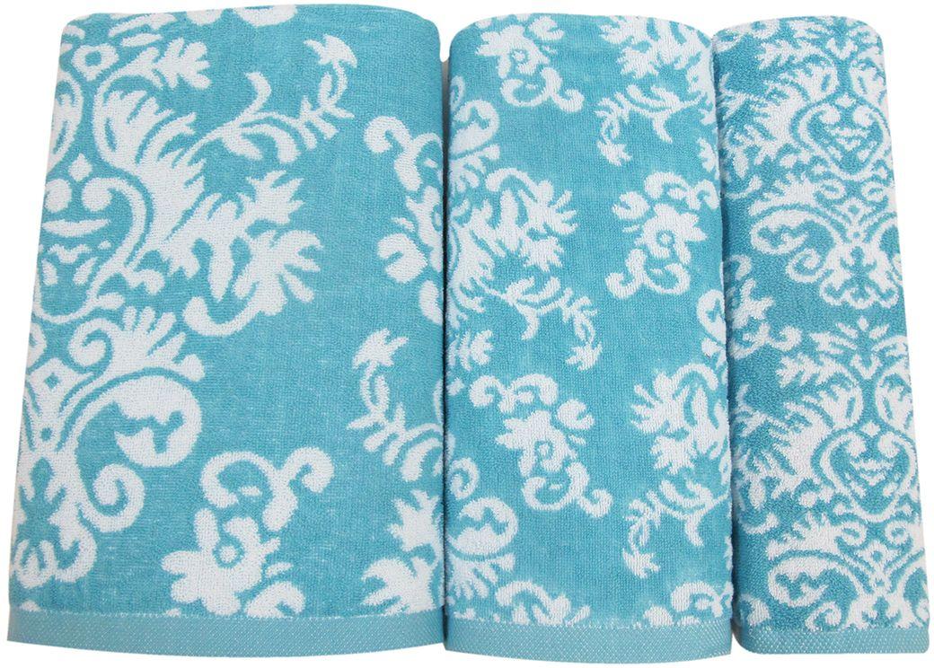 Набор махровых полотенец НВ Элиза, цвет: голубой, 3 шт. м0600_01 набор махровых полотенец issimo home jacquelyn цвет бежевый 30 x 50 см 4 шт