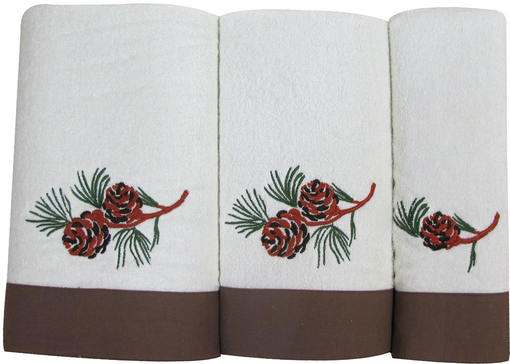 "Набор махровых полотенец Bravo ""Ботаника"", цвет: коричневый, белый, 30 х 50 см, 45 х 90 см, 65 х 130, 3 шт"