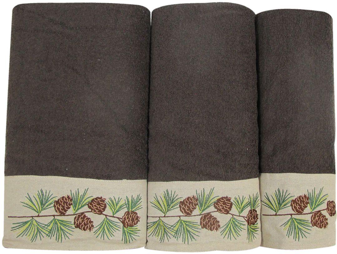 Набор махровых полотенец Bravo Ботаника, цвет: коричневый, кремовый, 30 х 50 см, 45 х 90 см, 65 х 130, 3 шт полотенце махровое bravo вдохновение цвет терракотовый 65 х 130 см