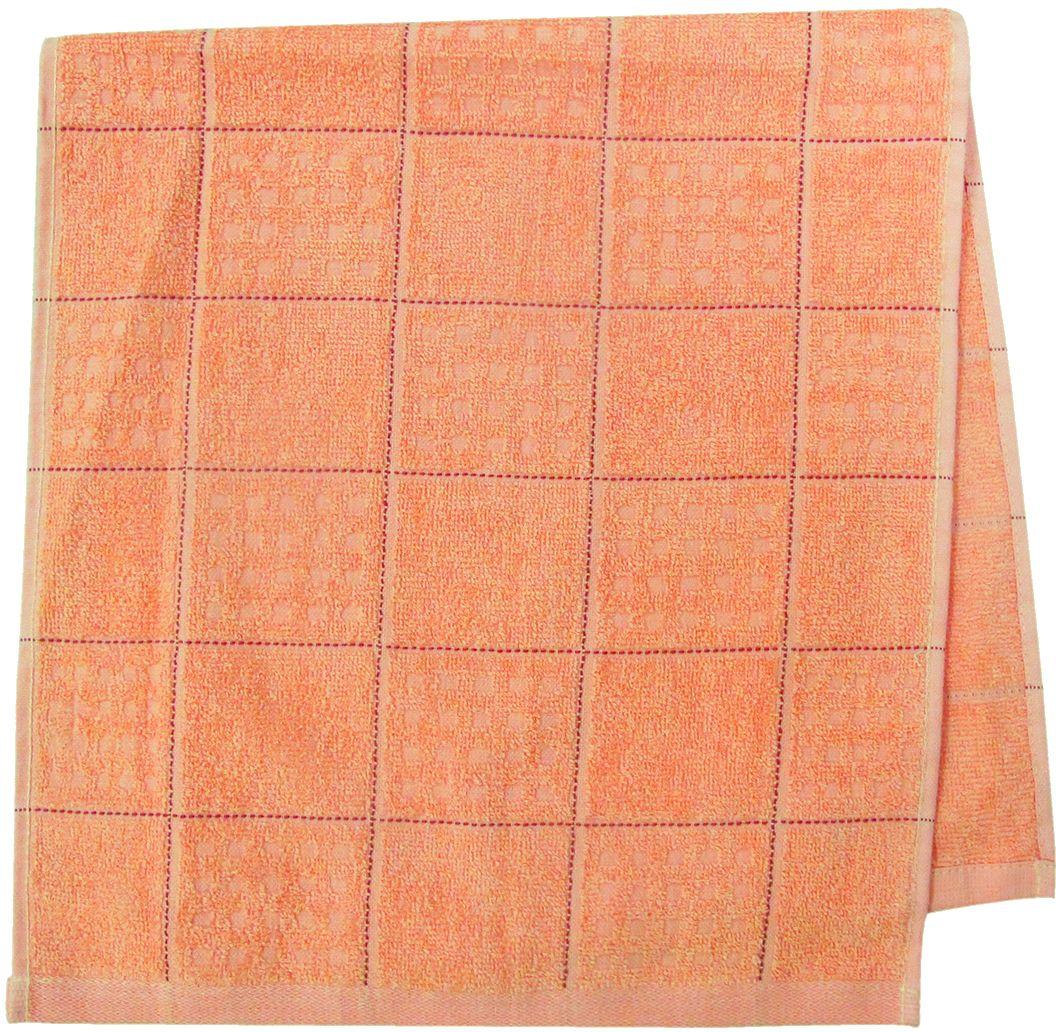 Полотенце махровое Bravo Квадро, цвет: персиковый, 33 х 70 см80823Полотенце Квадро выполнено из натуральной махровой ткани (100% хлопок). Изделие отлично впитывает влагу, быстро сохнет, сохраняет яркость цвета и не теряет форму даже после многократных стирок.Полотенце очень практично и неприхотливо в уходе. Оно создаст прекрасное настроение и украсит интерьер в ванной комнате.
