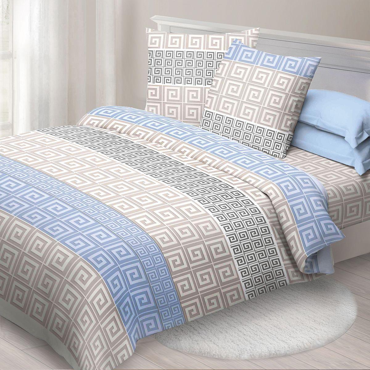 Комплект белья Спал Спалыч Меандр, cемейный, наволочки 70x70, цвет: голубой