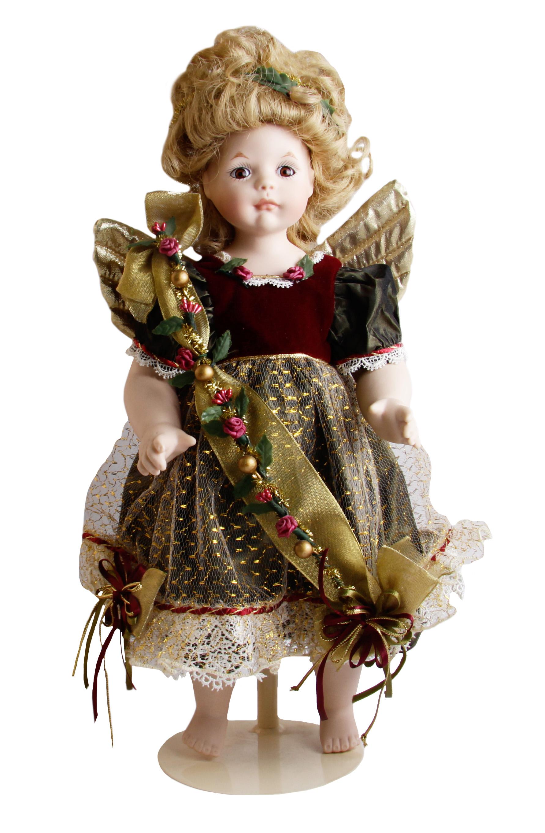 """Кукла """"Рождественский ангел Анжелика"""". Французский фарфор, ткань, металл. Западная Европа, Фаберже, 1990-е гг.                 Высота  36,5 см.   Сохранность хорошая.     Кукла сделана вручную из бисквитного фарфора, она одета в роскошное малиновое платье из бархата, сверкающее золотыми нитями и   украшенное тонким кружевом. Ее одежда декорирована сатиновыми бутонами роз. За спиной - золотые крылья, но голове - нимб. Роскошный новогодний подарок для ценителей дорогих и коллекционных вещей!"""