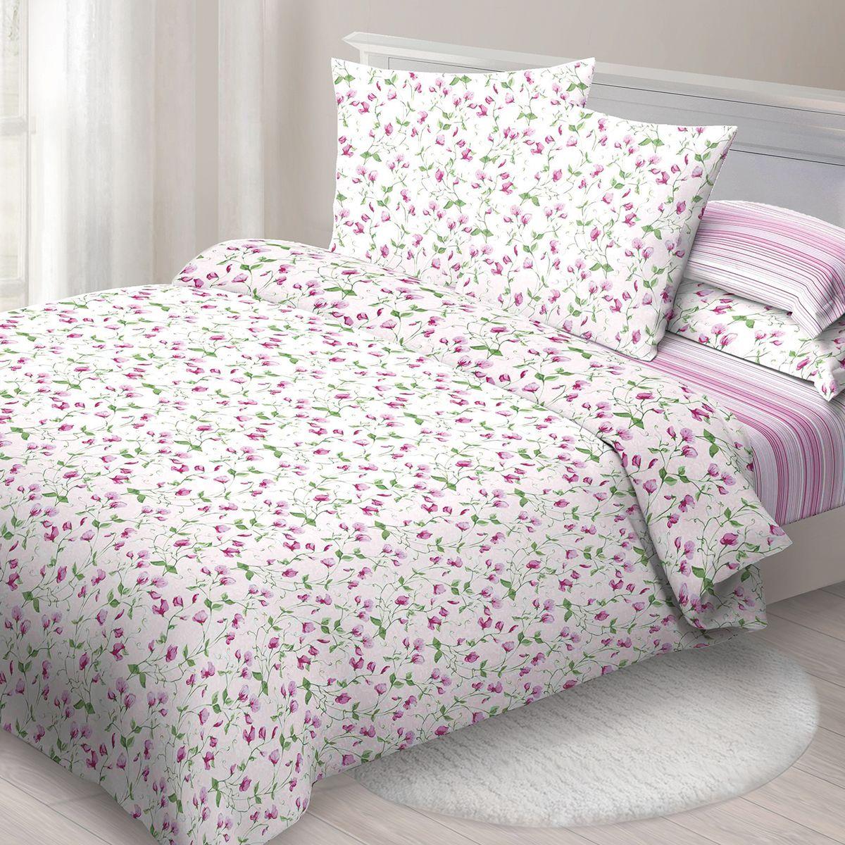 Комплект белья Спал Спалыч Лизабет, 1,5-спальный, наволочки 70x70, цвет: розовый