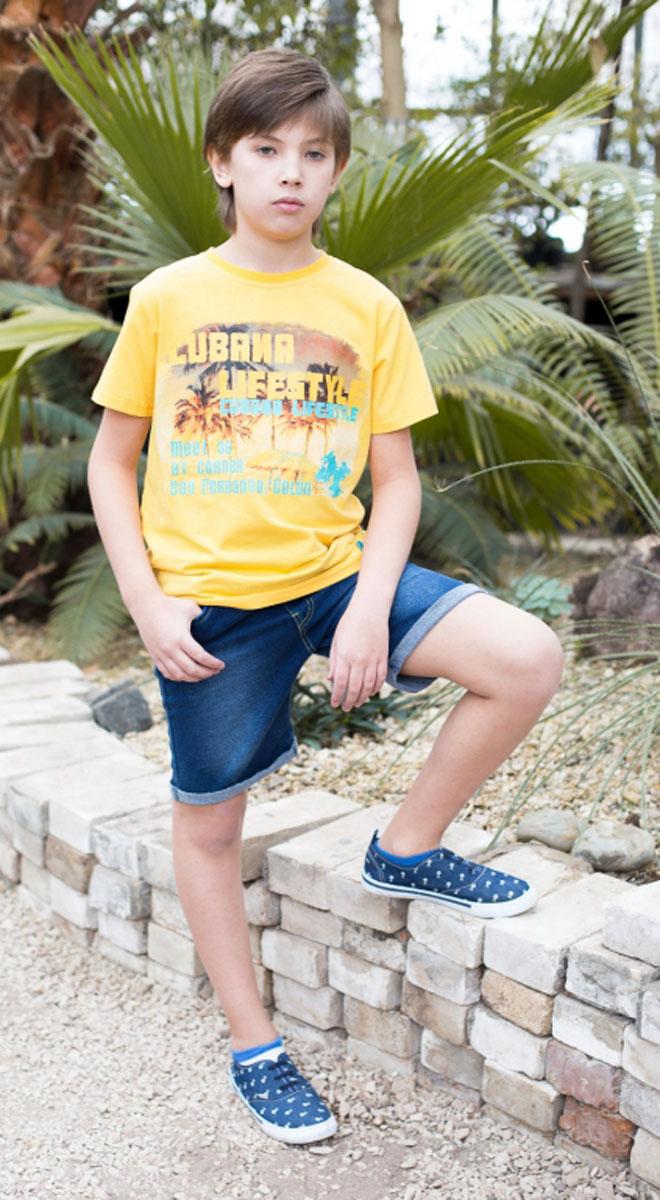 Шорты для мальчика Luminoso, цвет: голубой. 717051. Размер 146717051Джинсовые шорты на резинке с завязками для мальчика.