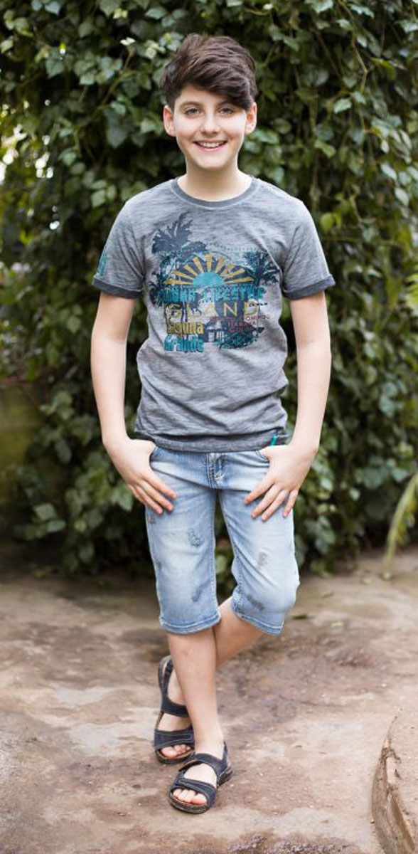 Футболка для мальчика Luminoso, цвет: серый меланж. 717053. Размер 140717053Стильная футболка из трикотажной ткани с коротким рукавом декорирована ярким принтом.