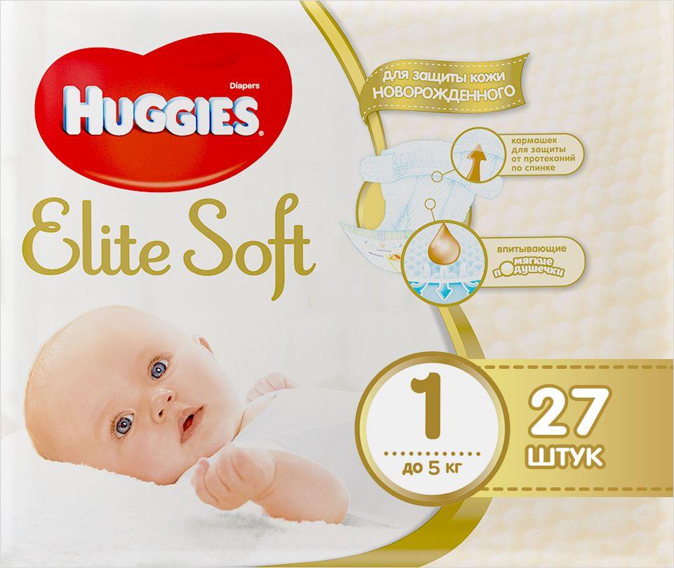Huggies Подгузники Elite Soft 0-5 кг (размер 1) 27 шт huggies детские влажные салфетки classic 128 шт