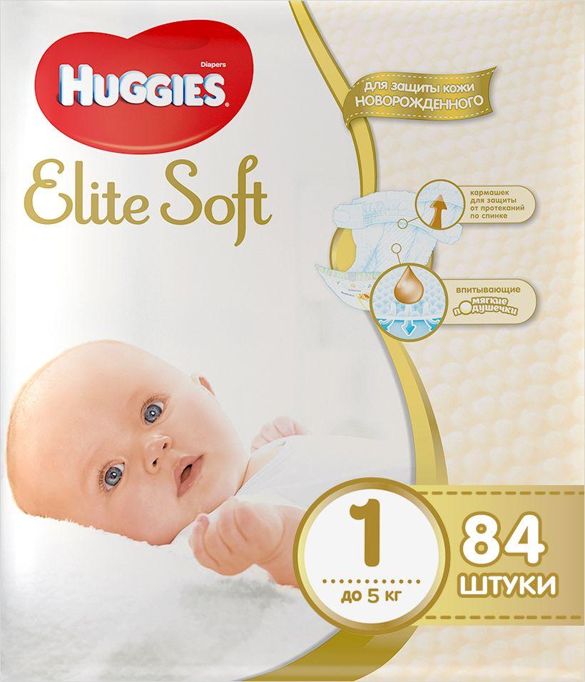 Huggies Подгузники Elite Soft до 5 кг (размер 1) 84 шт huggies детские влажные салфетки classic 128 шт