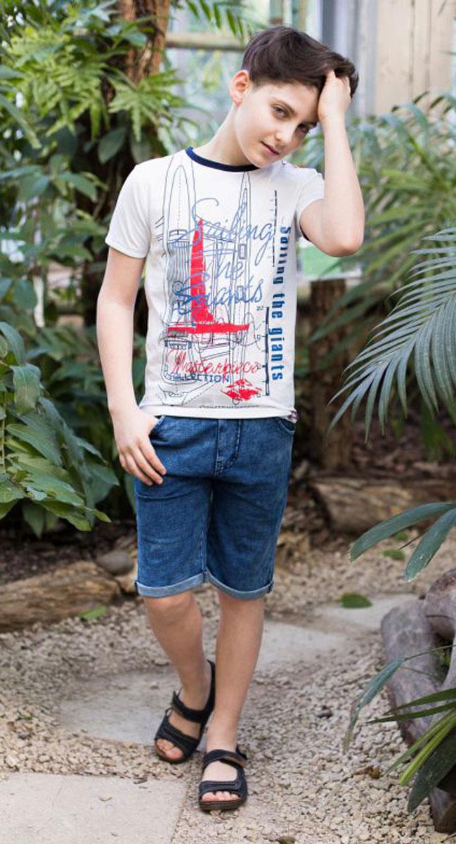 Футболка для мальчика Luminoso, цвет: белый. 717016. Размер 140717016Футболка из трикотажной мягкой ткани для мальчика. Декорирована оригинальным принтом. Горловина и рукава выполнены из контрастного канта.