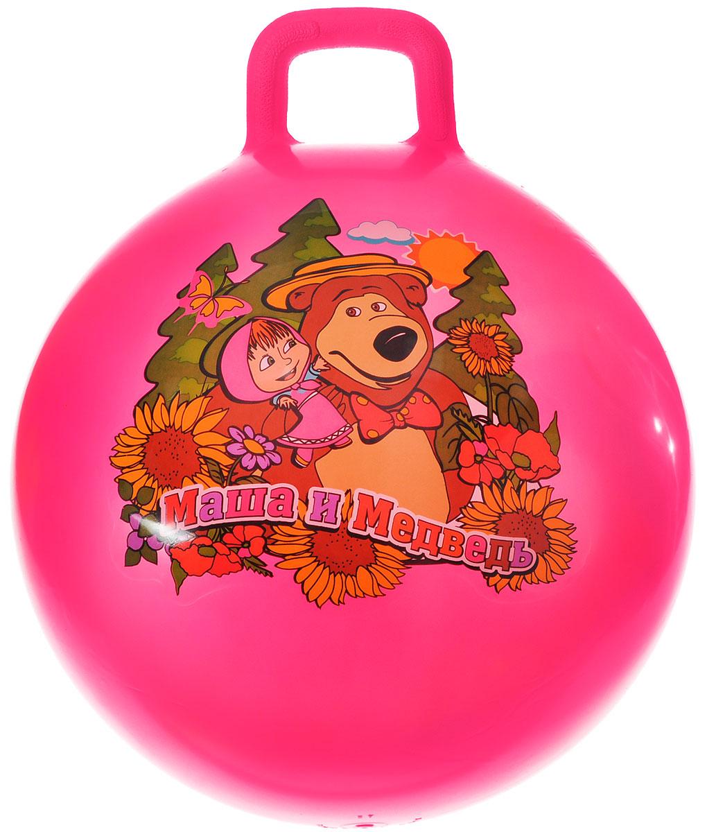 Играем вместе Мяч-прыгунок Маша и Медведь с ручкой цвет розовый 55 см