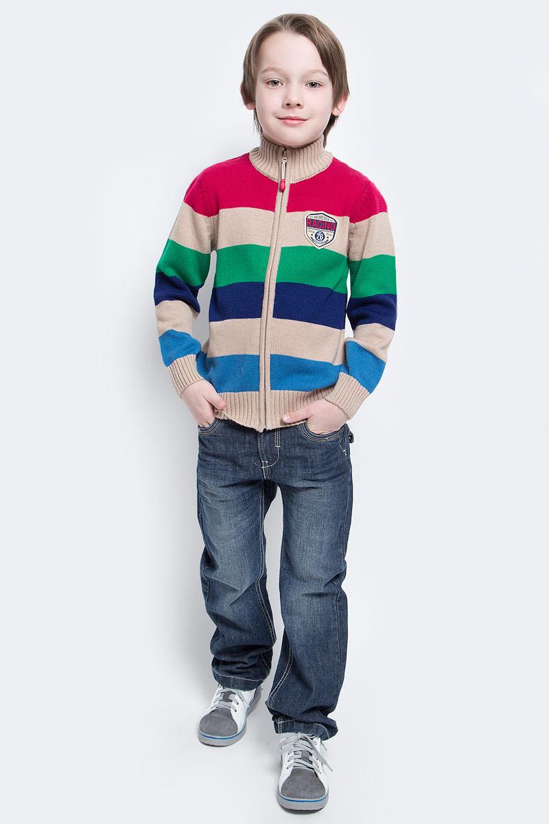 Кофта для мальчика PlayToday, цвет: бежевый, синий, голубой, зеленый, красный. 171006. Размер 122171006Кофта для мальчика PlayToday выполнена из хлопка и акрила. Материал изделия изготовлен методом yarn dyed - в процессе производства в полотне используются разного цвета нити. Тем самым изделие, при рекомендуемом уходе, не линяет и надолго остается в прежнем виде, это определенный знак качества. Модель на молнии. Мягкие резинки на манжетах и по низу изделия позволяют ему держать форму. Яркий принт делает кардиган модным.