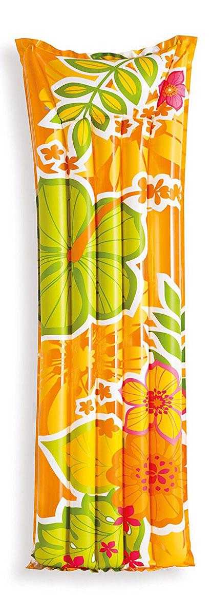 Надувной матрас Intex Красочный, цвет: оранжевый, 183 х 69 см. с59720 intex надувной матрас комфорт со встроенным электронасосом