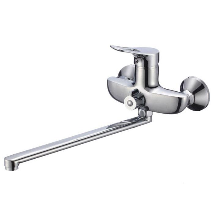 Смеситель для ванны и душа РМС, с длинным изливом, цвет: хром. SL120-006ESL120-006EСмеситель для ванны РМС с длинным изливом предназначен для смешивания холодной и горячей воды, устанавливается на мойку. Выполнен из высококачественной латуни марки MS63 (63% медь, 36% цинк, свинец, железо, сурьма, висмут, 1% фосфор). Такая латунь обладает повышенной прочностью, коррозионной стойкостью, твердостью и устойчивостью к щелочам и разбавленным кислотам. Смеситель оснащен керамическим картриджем. Смеситель находится в закрытом состоянии, если ручка опущена до отказа. Поднятием ручки регулируется напор воды, а поворотом ручки достигается регулирование степени температуры воды: влево - горячей, вправо - холодной. Преимущество одноручкового смесителя заключается в том, что установленная вами температура воды сохраняется, если ручка при закрытии и следующем открытии не поменяла свое положение. Благодаря большой твердости и износоустойчивости керамических пластинок одноручковые смесители дольше служат, чем традиционные. Аэратор выполнен из пластика. Европереключение на душ. В комплекте: эксцентрики, отражатели, металлический шланг для душа длиной 1,5 м, пластиковая лейка для душа, крепление для лейки. Кран-букса керамическая: 1/2. Картридж: керамический.Размер картриджа: 35 мм.