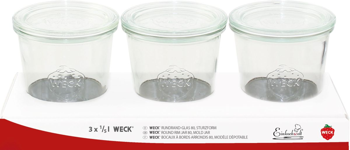 """Набор банок для сыпучих продуктов Einkochwelt """"Weck"""" изготовлен из прочного стекла и дополнен также стеклянными крышками. Набор состоит из трех банок, которые предназначены  для хранения сыпучих продуктов и консервации. Стеклянные крышки сделают процесс  приготовления домашних заготовок легким и приятным, а также обеспечат надежное хранение  готовых продуктов. Эта банка сделана из жаропрочного стекла (выдерживает температуру  до 250°С). Оригинальная форма позволит им стать не только полезными  изделиями, но и украшением интерьера вашей кухни. Объем банки: 290 мл."""
