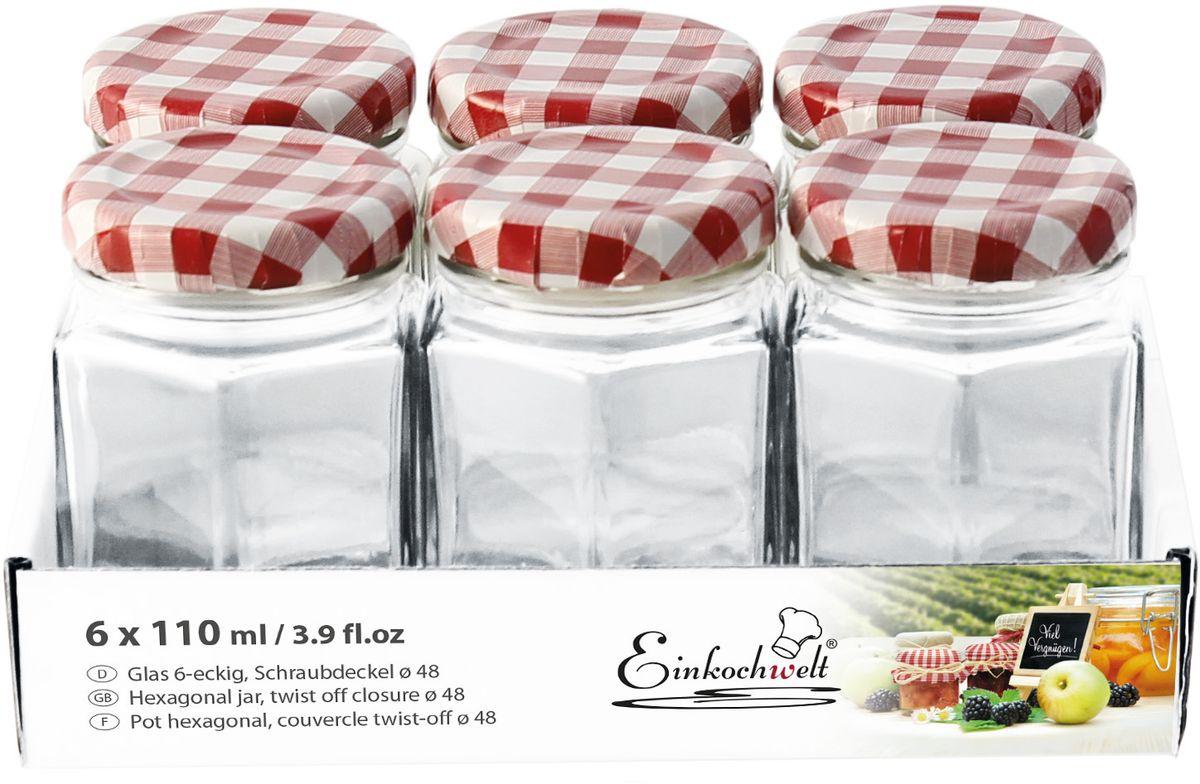 Банка для сыпучих продуктов Einkochwelt Twist, 110 мл. 6 шт344476Набор банок для сыпучих продуктов Einkochwelt Twist изготовлен из прочного стекла и дополненметаллическими крышками. Набор состоит из шести банок круглой формы. Банки предназначены для хранения сыпучих продуктов и консервации. Удобные крышки сделают процесс приготовления домашних заготовок легким и приятным, а также обеспечат надежное хранение готовых продуктов. Оригинальная форма банок позволит им стать не только полезными изделиями, но и украшением интерьера вашей кухни.Объем банки: 110 мл.