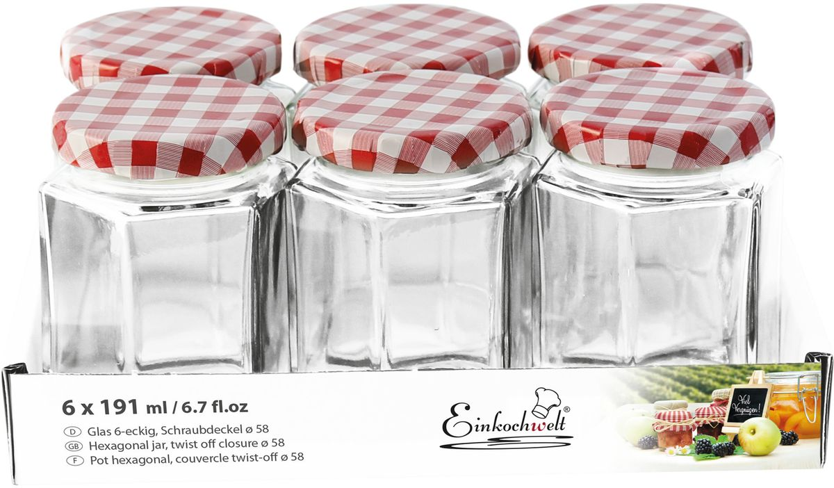 Банка для сыпучих продуктов Einkochwelt Twist, 191 мл. 6 шт344483Набор банок для сыпучих продуктов Einkochwelt Twist изготовлен из прочного стекла и дополненметаллическими крышками. Набор состоит из шести банок круглой формы. Банки предназначены для хранения сыпучих продуктов и консервации. Удобные крышки сделают процесс приготовления домашних заготовок легким и приятным, а также обеспечат надежное хранение готовых продуктов. Оригинальная форма банок позволит им стать не только полезными изделиями, но и украшением интерьера вашей кухни.Объем банки: 191 мл.