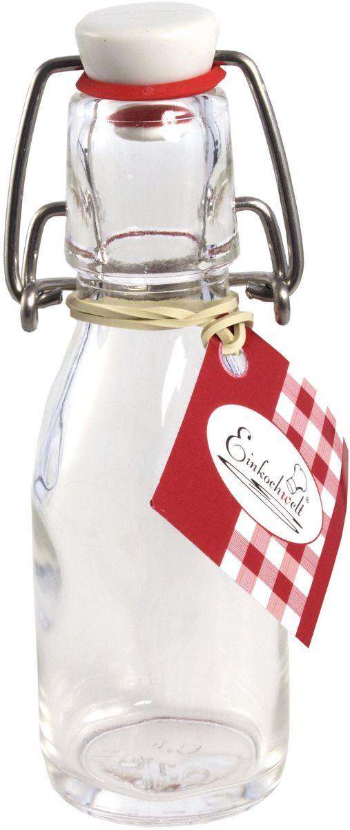 Бутылка Einkochwelt, с зажимом-клипсой, 100 мл346401Бутылка Einkochwelt, выполненная из стекла, позволит украсить любую кухню, внеся разнообразие в кухонный интерьер. Она легка в использовании. Крышка плотно закрывается с помощью металлического зажима-клипсы, дольше сохраняя свежесть продуктов. Крышка оснащена силиконовым уплотнителем.Благодаря этому внутри сохраняется герметичность, и напитки дольше остаются свежими.Оригинальная бутылка будет отлично смотреться на вашей кухне.Объем: 100 мл.