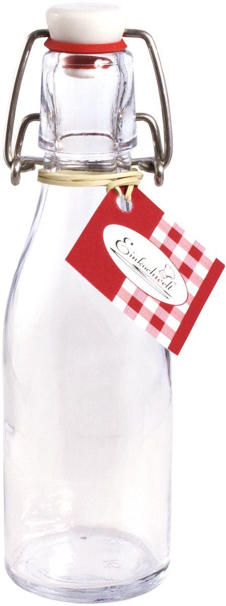 Бутылка Einkochwelt, с зажимом-клипсой, 200 мл346418Бутылка Einkochwelt, выполненная из стекла, позволит украсить любую кухню, внеся разнообразие в кухонный интерьер. Она легка в использовании. Крышка плотно закрывается с помощью металлического зажима-клипсы, дольше сохраняя свежесть продуктов. Крышка оснащена силиконовым уплотнителем.Благодаря этому внутри сохраняется герметичность, и напитки дольше остаются свежими.Оригинальная бутылка будет отлично смотреться на вашей кухне.Объем: 200 мл.