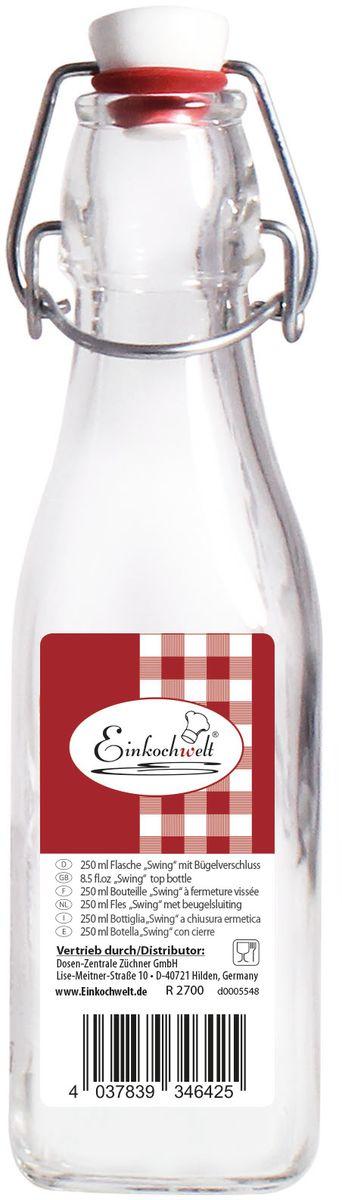 Бутылка Einkochwelt, с зажимом-клипсой, 250 мл. 346425346425Бутылка Einkochwelt, выполненная из стекла, позволит украсить любую кухню, внеся разнообразие в кухонный интерьер. Она легка в использовании. Крышка плотно закрывается с помощью металлического зажима-клипсы, дольше сохраняя свежесть продуктов. Крышка оснащена силиконовым уплотнителем.Благодаря этому внутри сохраняется герметичность, и напитки дольше остаются свежими.Оригинальная бутылка будет отлично смотреться на вашей кухне.Объем: 250 мл.