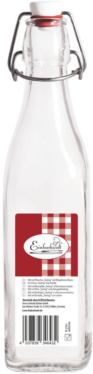 Бутылка Einkochwelt, с зажимом-клипсой, 500 мл. 346432346432Бутылка Einkochwelt, выполненная из стекла, позволит украсить любую кухню, внеся разнообразие в кухонный интерьер. Она легка в использовании. Крышка плотно закрывается с помощью металлического зажима-клипсы, дольше сохраняя свежесть продуктов. Крышка оснащена силиконовым уплотнителем.Благодаря этому внутри сохраняется герметичность, и напитки дольше остаются свежими.Оригинальная бутылка будет отлично смотреться на вашей кухне.Объем: 500 мл.