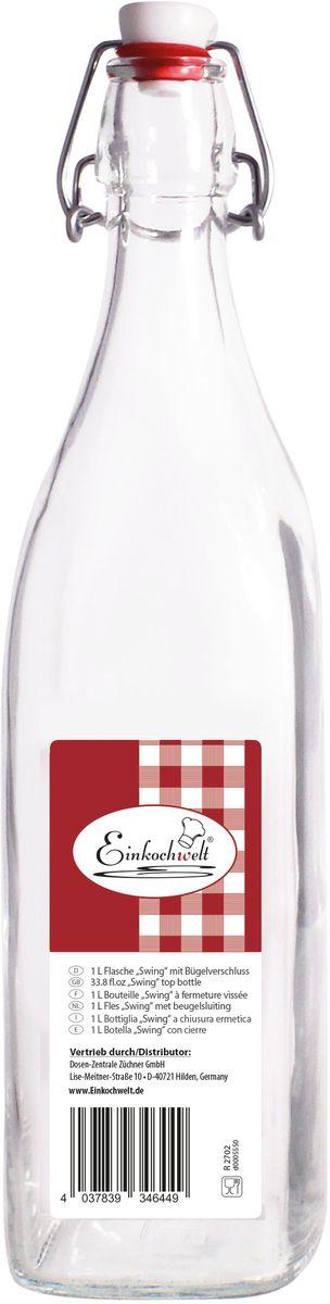 Бутылка Einkochwelt, с пробкой, 1 л346449Бутылка Einkochwelt, выполненная из стекла, позволит украсить любую кухню, внеся разнообразие в кухонный интерьер. Она легка в использовании. Крышка плотно закрывается с помощью металлического зажима-клипсы, дольше сохраняя свежесть продуктов. Крышка оснащена силиконовым уплотнителем.Благодаря этому внутри сохраняется герметичность, и напитки дольше остаются свежими.Оригинальная бутылка будет отлично смотреться на вашей кухне.Объем: 1 л.