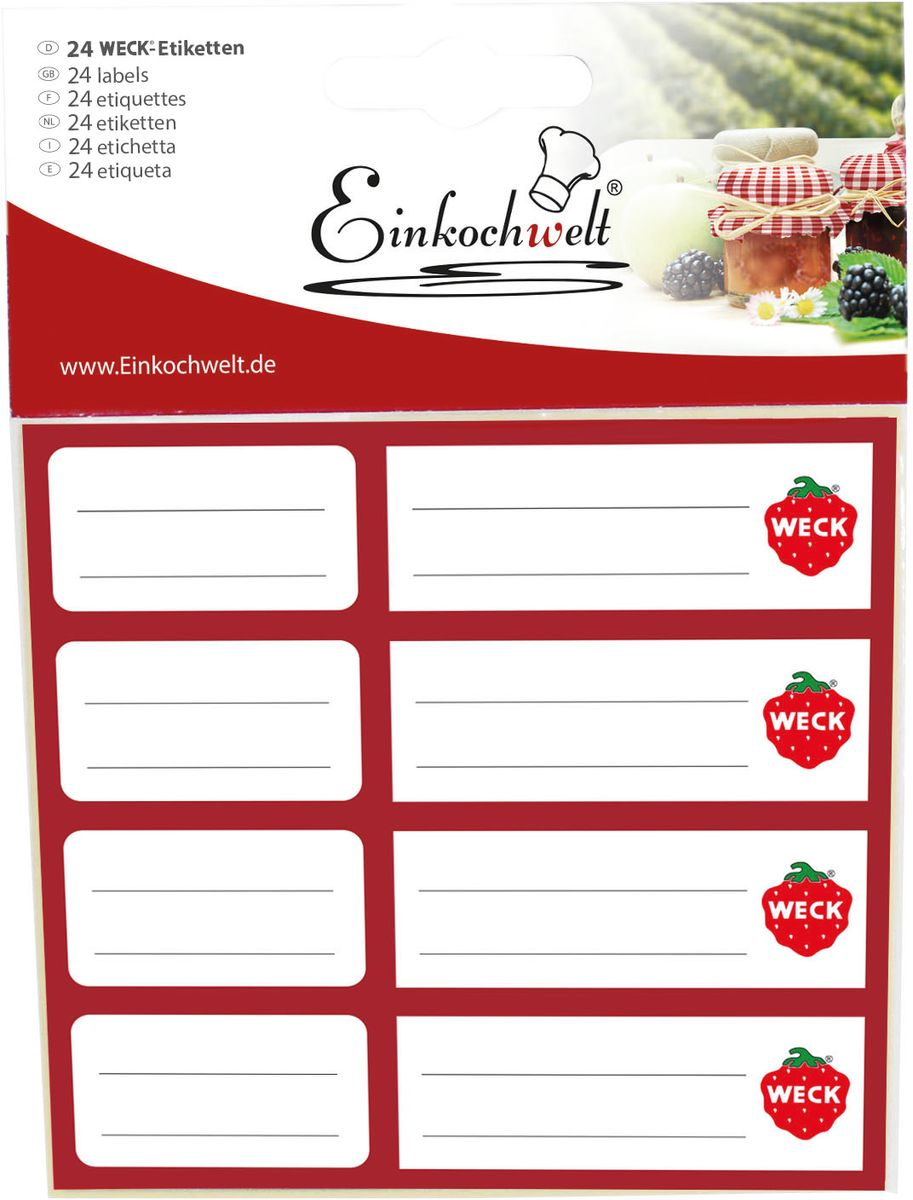Набор этикеток Einkochwelt, 5 х 6 см. 24 шт346920Оригинальные этикетки на банки и бутылки Einkochwelt станут прекрасным украшением ваших домашних заготовок и других продуктов. Вы никогда не забудете состав и дату изготовления продукта.Размеры: 5 х 6 см.