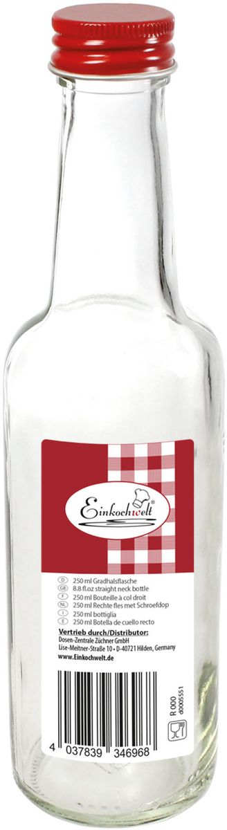 """Бутылка """"Einkochwelt"""", выполненная из стекла, позволит украсить любую кухню, внеся  разнообразие в кухонный интерьер. Она легка в использовании. Крышка плотно закручивается и  дольше сохраняет свежесть продуктов.Оригинальная бутылка будет отлично смотреться на  вашей кухне. Объем: 250 мл."""