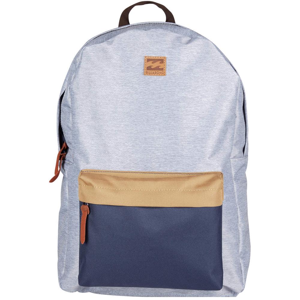 Рюкзак городской Billabong All Day Pack, цвет: серый, синий3607869368554Компактный городской рюкзак, объема которого вполне достаточно для повседневных потребностей. Рюкзак для работы, учебы или пляжного отдыха. Классический дизайн с одним отделением, в которое можно сложить все, что угодно. Основное отделение закрывается на молнию. Спереди имеется объемный карман на молнии. Мягкие регулируемые лямки.Стильные расцветки сделают этот рюкзак не только полезным аксессуаром, но и замечательным дополнением вашего образа в целом.