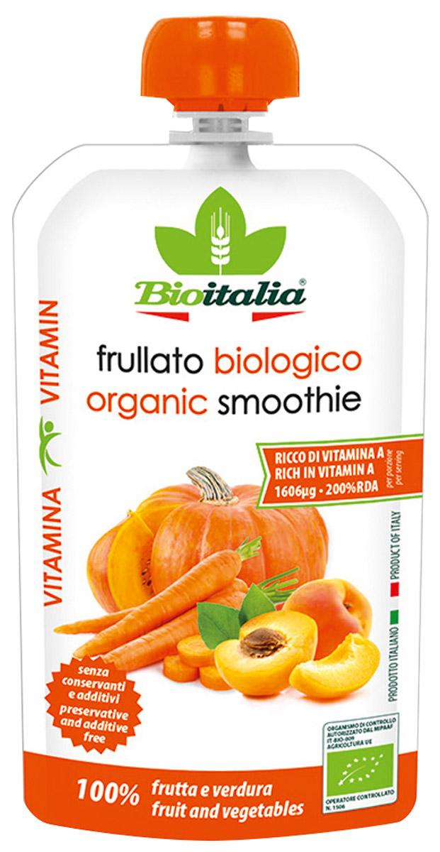 Bioitalia Пюре из моркови, абрикоса и тыквы смузи, 120 г кружево вкуса смесь для смузи из клубники и ананаса быстрозамороженная 300 г