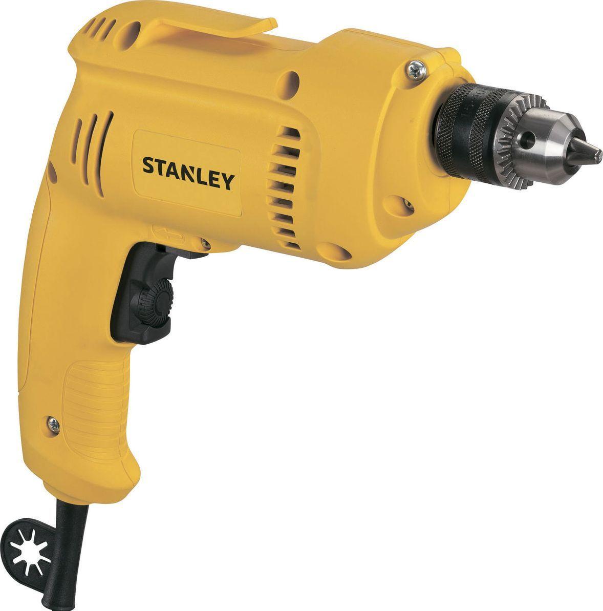 Дрель Stanley. STDR5510STDR5510Дрель Stanley снабжена надежным двигателем, что увеличивает ее рабочий ресурс. Ключевой патрон обеспечивает надежное крепление рабочей оснастки. С помощью специального фиксатора можно заблокировать пусковую клавишу, что исключает необходимость постоянно держать на ней палец. Для удобства выведения застрявшего в материале сверла дрель имеет функцию реверса.