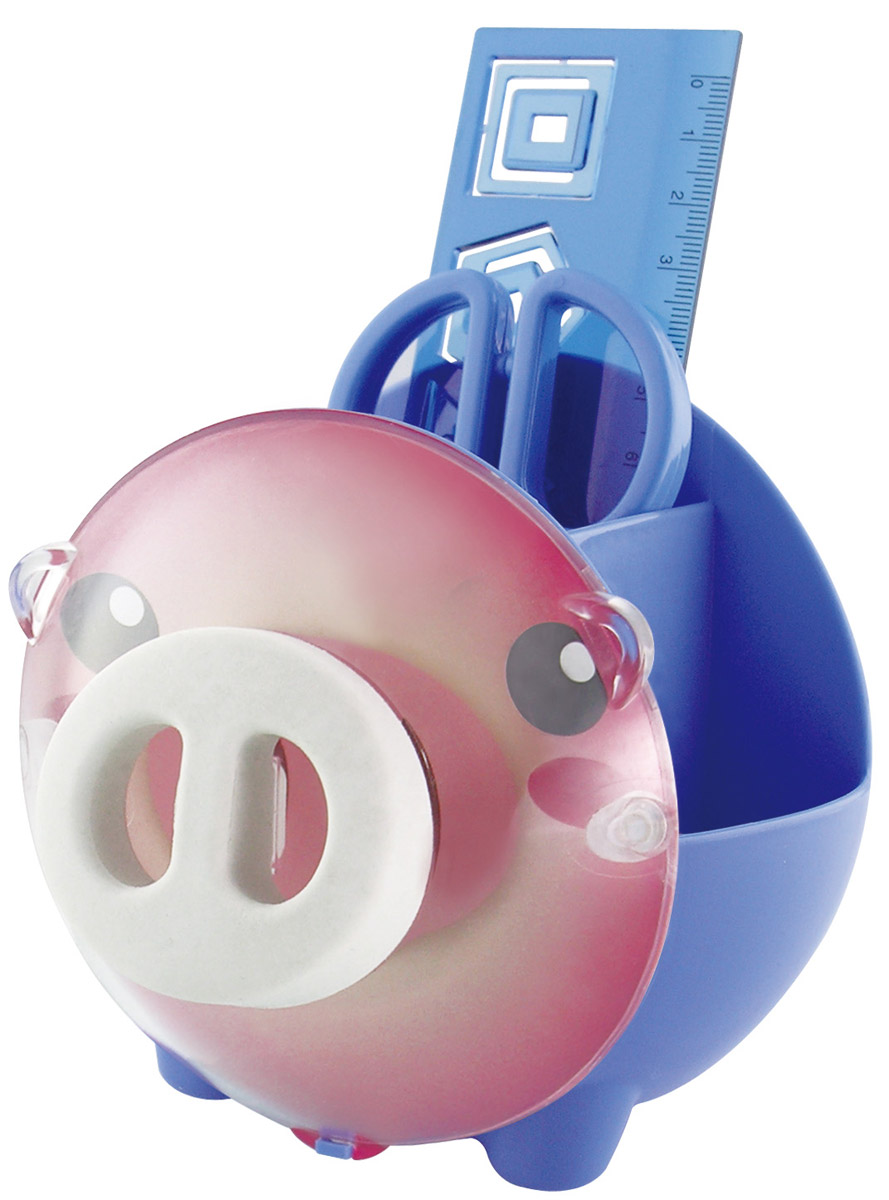 Brauberg Канцелярский набор Пигги цвет синий231934_синийНастольный канцелярский набор Brauberg Пигги из высококачественного яркого пластика в форме поросенка позволяет эргономично и весело организовать место для учебы и развлечений ребенка. Мордочка Пигги может использоваться под фотографию.В набор помимо подставки входят: пластиковые ножницы с безопасными закругленными лезвиями, линейка с трафаретами, скрепки и ластик.