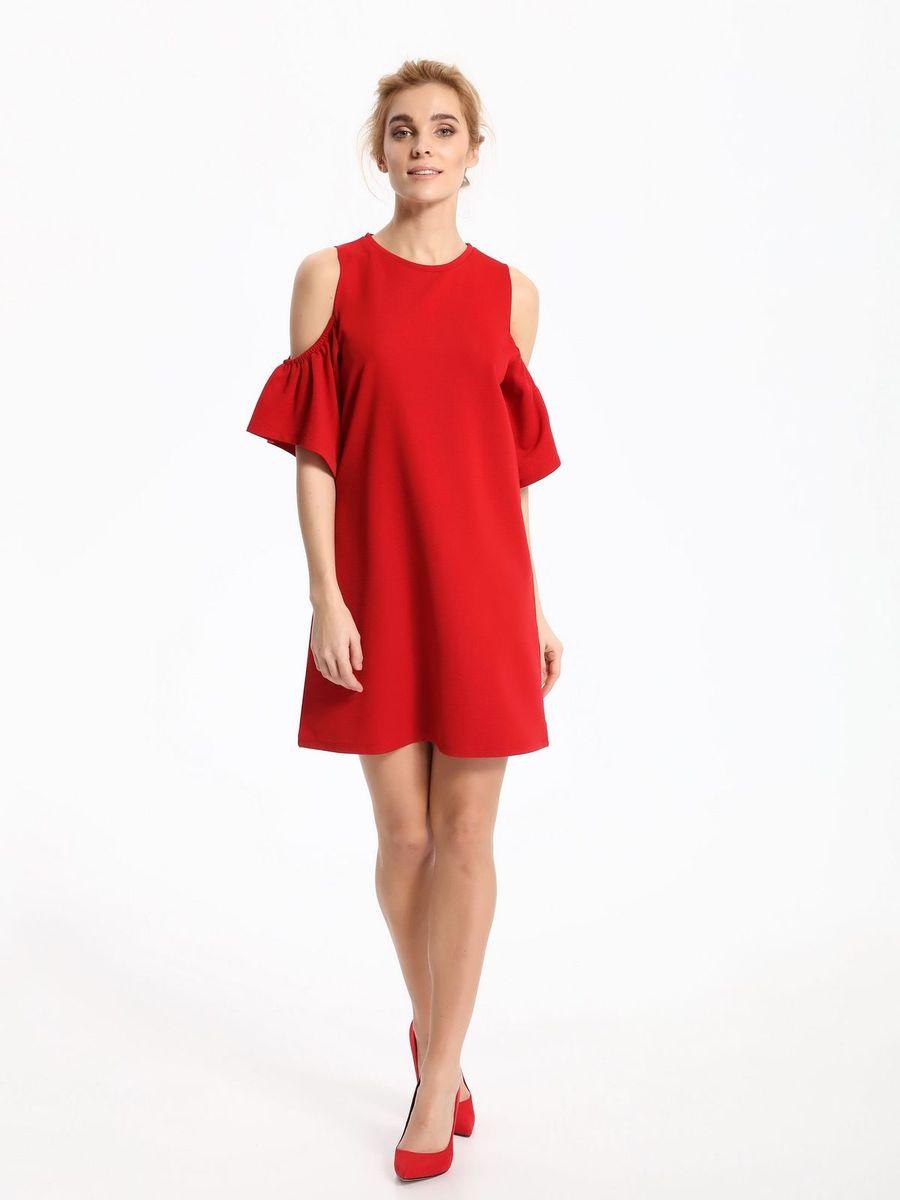 Платье Top Secret, цвет: красный. SSU1860CE. Размер 40 (50)SSU1860CEПлатье Top Secret выполнено из полиэстера и эластана. Модель с круглым вырезом горловины и короткими рукавами.