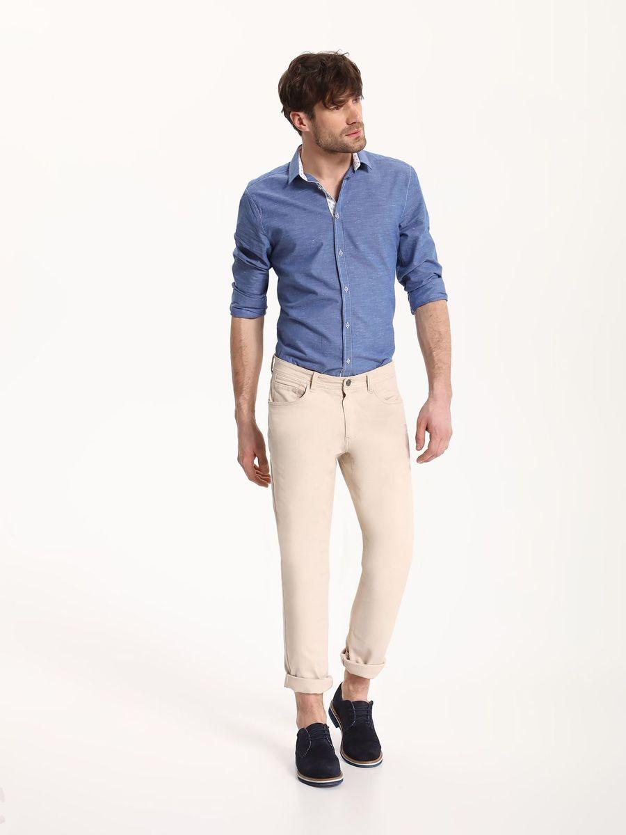 Рубашка мужская Top Secret, цвет: голубой. SKL2324BL. Размер 42/43 (50)SKL2324BLРубашка мужская Top Secret выполнена из хлопка и полиэстера. Модель с отложным воротником и длинными рукавами застегивается на пуговицы.