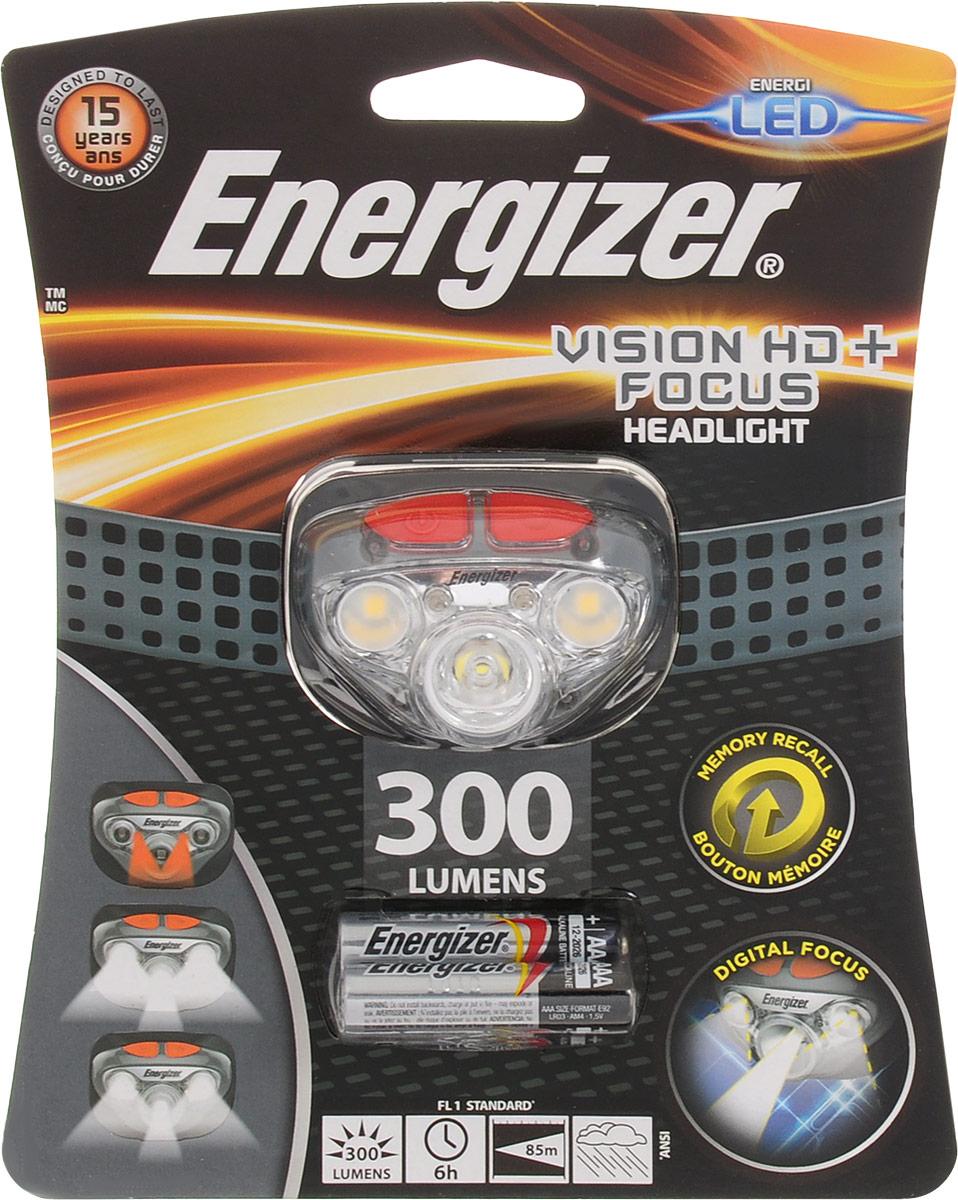 Фонарь налобный ENERGIZER Headlight Vision HD+Focus, светодиодный. E300280700E300280700Налобный фонарь ENERGIZER Headlight Vision HD+Focus предназначен для освещения местности, работы в труднодоступных и затемненных местах, будет полезен в хобби и туризме. Он крепится к голове регулирующими резинками, оставляя обе руки свободными и не стесняя движений. Включение и смена режимов регулируются всего одной кнопкой, находящейся на корпусе прибора. Фонарь обладает брызгозащитой, но полностью герметичным не является, поэтому погружать в воду его нельзя. Работает фонарь от трех батареек типа ААА (входят в комплект).Особенности фонаря: - 3 белых светодиода,- 2 красных светодиода,- Режимы узкого и широкого угла освещения,- Регулировка яркости,- Быстрое выключение без переключения режимов,- Поворотная головка,- Небьющиеся линзы.В комплект входит регулируемая эластичная лента для крепления на голову.Световой поток: 300 lumens.Дальность свечения: 85 м.