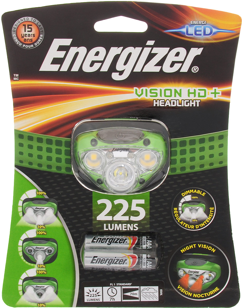 Фонарь налобный ENERGIZER Vision HD, светодиодный. E300280600 фонарь energizer vision hd focus headlight