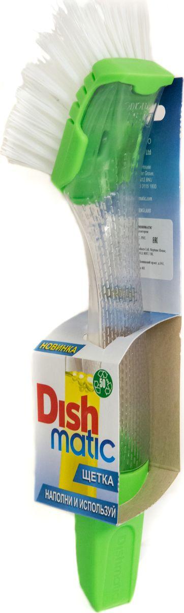 Щетка для посуды Dishmatic с дозатором116-01-4557/4782Щетка для посуды Dishmatic с дозатором! Идеально подходит для очистки загрязненных поверхностей. Использование Dishmatic надежно предохранит ваши руки от горячей мыльной воды, защитит ногти, снизит расход моющего средства и воды. Встроенная крышка легко открывается. Форма насадки разработана для максимально удобного доступа к любым уголкам посуды. Когда насадка износится, просто снимите и замените на новую.