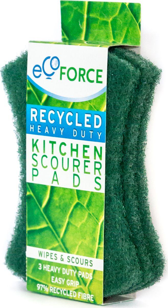 Кухонная губка EcoForce, для сильных загрязнений, цвет: зеленый, 3 шт116-02-4109/4102EcoForce – тонкие губки для повседневного использования. Предназначены для вытирания пролитых жидкостей, капель, пятен и удаления загрязнений с любых поверхностей. Не оставляют царапин, устойчивы к чистящим средствам. Имеют специальный контур для удобного захвата. Изготовлены из переработанного сырья.