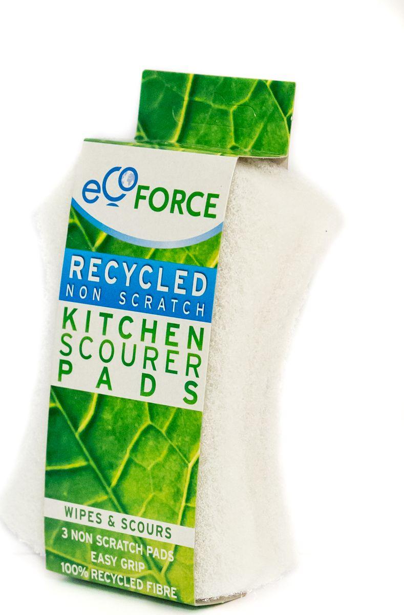 Кухонная губка EcoForce, для деликатных поверхностей, цвет: белый, 3 шт щетка для посуды ecoforce
