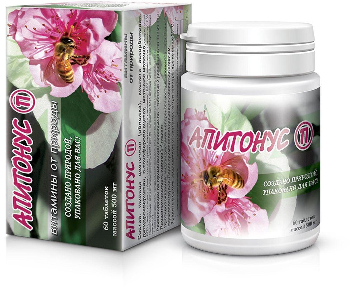 Комплекс природных витаминов и минералов Апитонус, таблетки 500 мг, №60 911 артромивит комплекс витаминов и минералов 60 таблетки