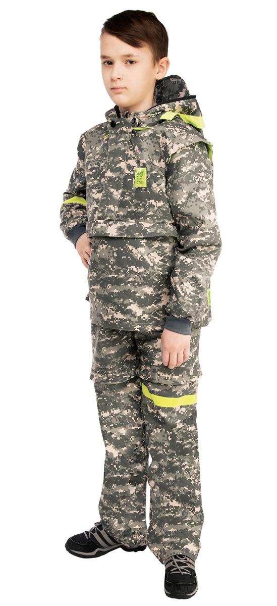 Костюм противоэнцефалитный детский Биостоп, цвет: зеленый камуфляж. 05/0/07. Размер 38-76/14605/0/07Детский костюм Биостоп защитит от укуса клещей самых маленьких и самых любимых членов семьи. Схема расположения ловушек на костюме доработана с учетом роста детей. Куртка с застежкой на молнии, надевается через голову, молния закрыта двумя планками. Рукава с манжетами, имеются штрипки по нижнему краю брючин, не позволяющие штанине задираться. Обработанные противоклещевым средством участки костюма не контактируют с кожей. Капюшон куртки дополнен антимоскитной сеткой на молнии, которая защитит лицо от мошки и гнуса, быстро застегивается в случае необходимости и также легко убирается. Все костюмы снабжены сигнальными элементами на капюшоне, рукаве и брючине. В костюме Биостоп ребенок будет чувствовать себя не только безопасно, но и комфортно: его крой нисколько не стесняет движений.