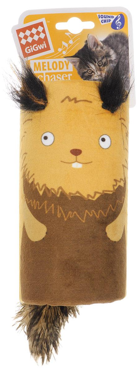 Игрушка для кошек GiGwi Белка-дразнилка, с хвостиком на резинке, со звуковым чипом, 15,5 х 8,5 см электронная игрушка для кошек gigwi pet droid фезер воблер