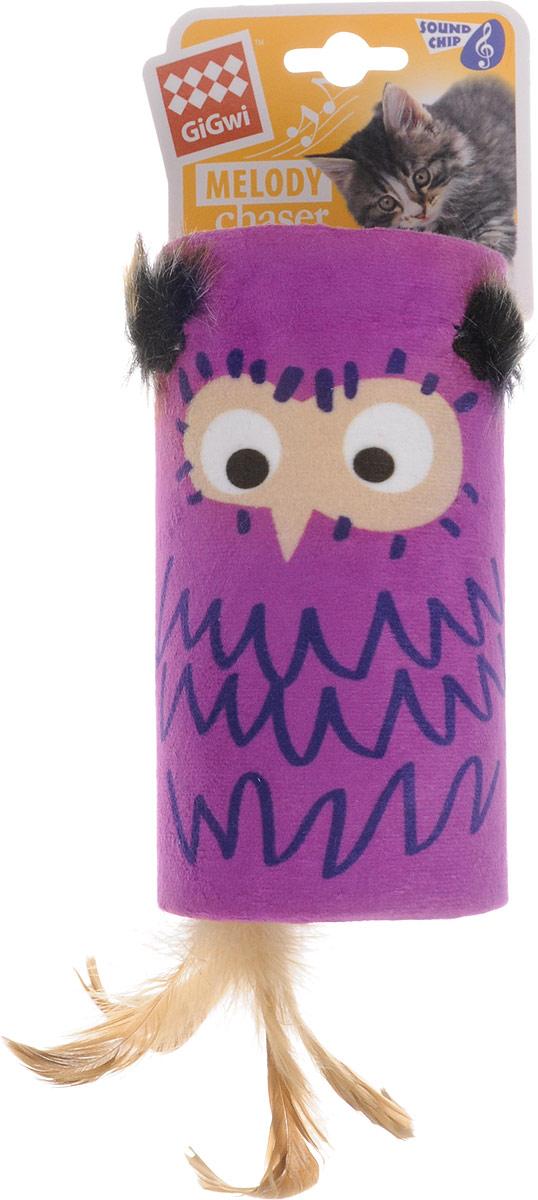 Игрушка для кошек GiGwi Сова-дразнилка, с хвостиком на резинке, со звуковым чипом, 15,5 х 8,5 см электронная игрушка для кошек gigwi pet droid фезер воблер