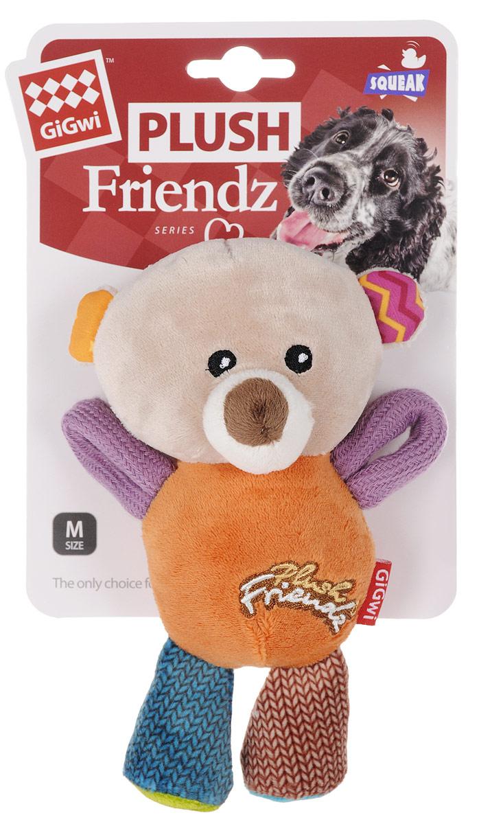 Игрушка для собак GiGwi Мишка, с пищалками, длина 16 см. 74350 игрушка