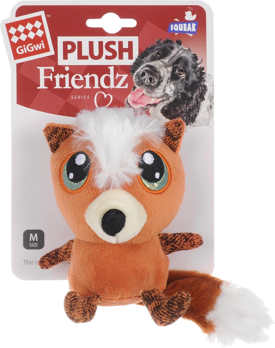 Игрушка для собак GiGwi Лиса с большими глазами, с пищалкой, длина 12 см игрушка для собак ziver осел длинноухий с пищалкой цвет голубой 18 см